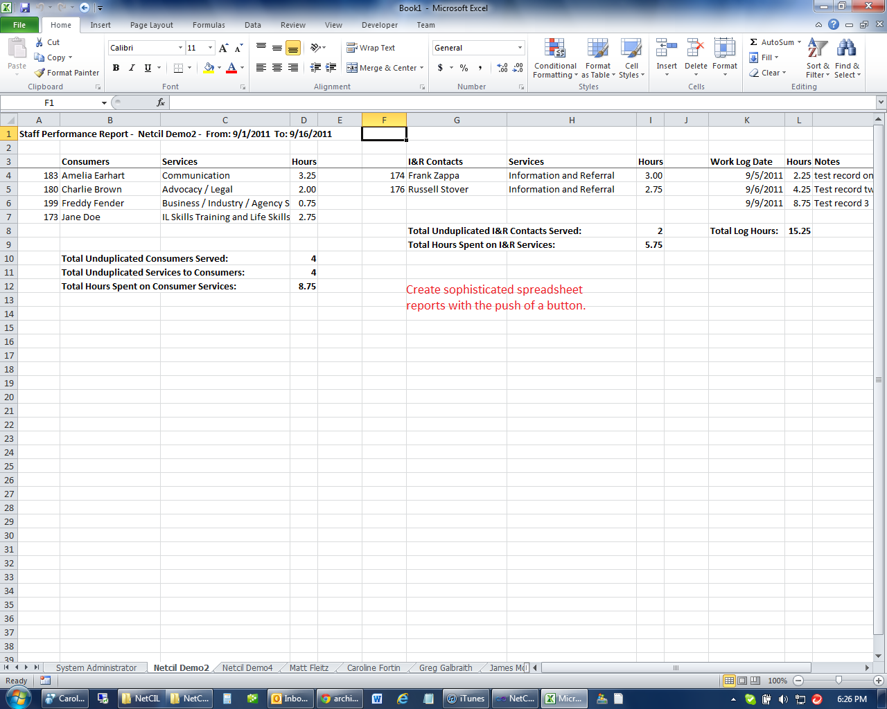 NetCIL Spreadsheet view.